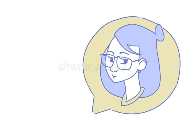 Det kvinnliga head begreppet för mitten för appellen för supporttjänst för avataren för kvinnan för symbolen för pratstundbubblap vektor illustrationer