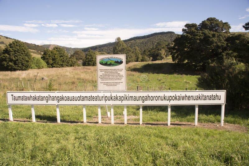 Det längsta ställenamnet i Nya Zeeland royaltyfria foton