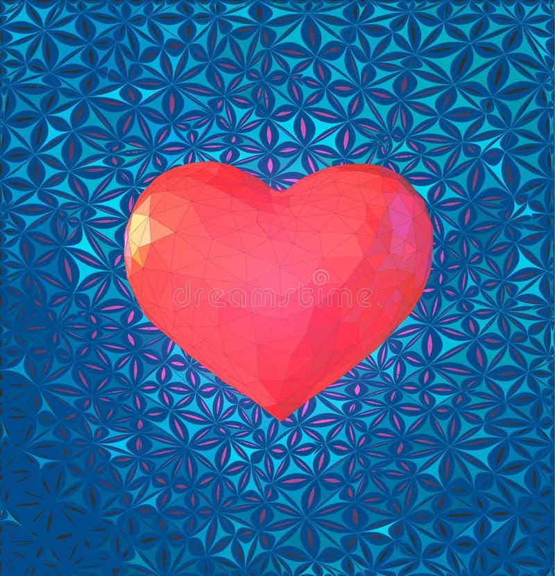 Det låga poly rosa hjärtasymbolet med stiliserar BG stock illustrationer