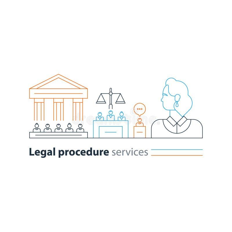 Det lagliga domstolsbyggnadförsöket servar symboler, advokatmannen, försvaradvokatexpert stock illustrationer