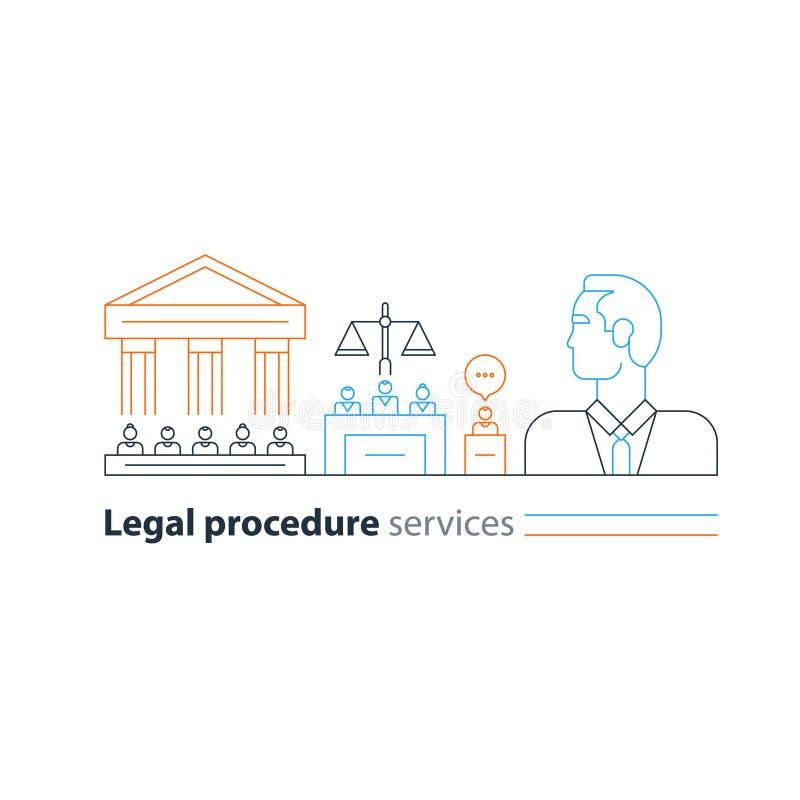 Det lagliga domstolsbyggnadförsöket servar symboler, advokatmannen, försvaradvokatexpert royaltyfri illustrationer
