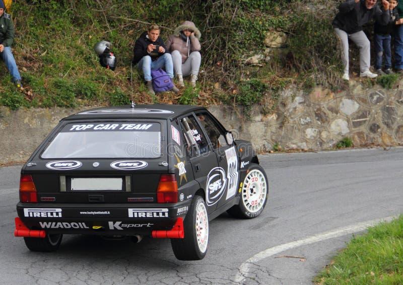 Det Lancia deltaloppet under den 64th Sanremoen samlar royaltyfri bild