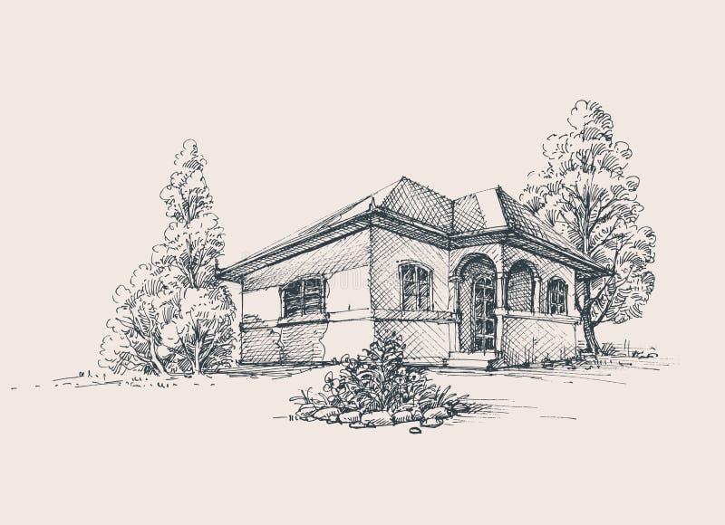 Det lantliga huset skissar royaltyfri illustrationer