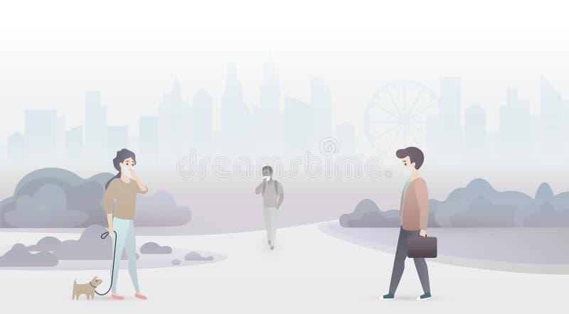 Det ledsna folket lider från luftförorening och bär skyddande maskeringar Industriell smogstadsbakgrund royaltyfri illustrationer