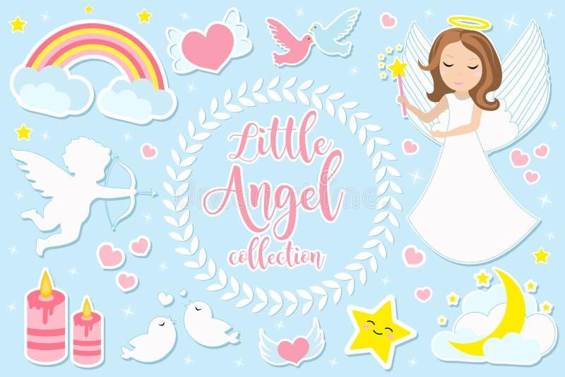 Det lilla ängelflickateckenet - ställ in av objekt Samling av designbeståndsdelen med änglar, kupidon, moln, hjärtor, duvor av royaltyfri illustrationer