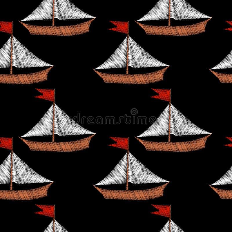 Det lilla fartyget med blåttvågbroderi syr efterföljd på blac stock illustrationer