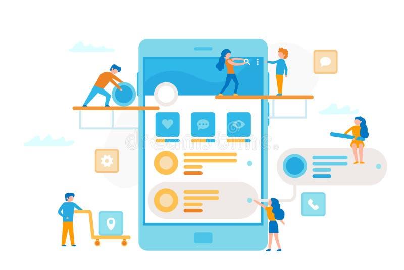 Det lilla folket runt om en smartphone gör en process för UI UX infographic Abstrakt blått- och vitkuber på en vitbakgrund Affärs royaltyfri illustrationer