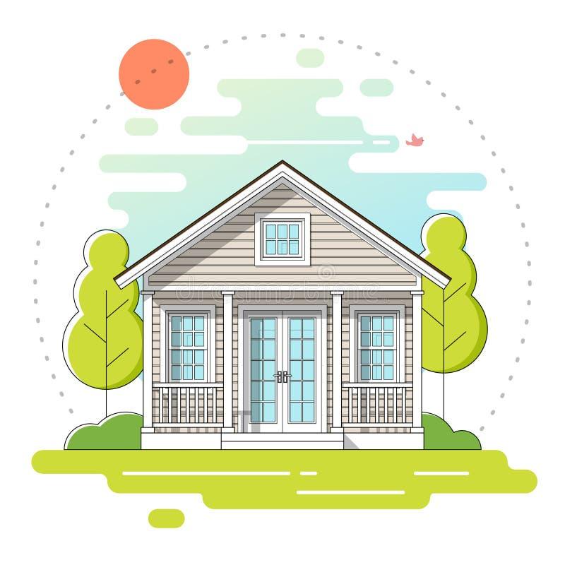 Det lilla huset och härlig lantlig bakgrund för landskapdagplats i den plana linjen konst utformar vektor illustrationer