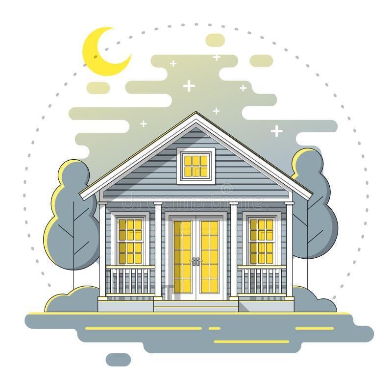 Det lilla huset och härlig lantlig bakgrund för landskapnattplats i den plana linjen konst utformar royaltyfri illustrationer