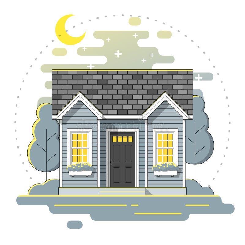Det lilla huset och härlig lantlig bakgrund för landskapnattplats i den plana linjen konst utformar stock illustrationer