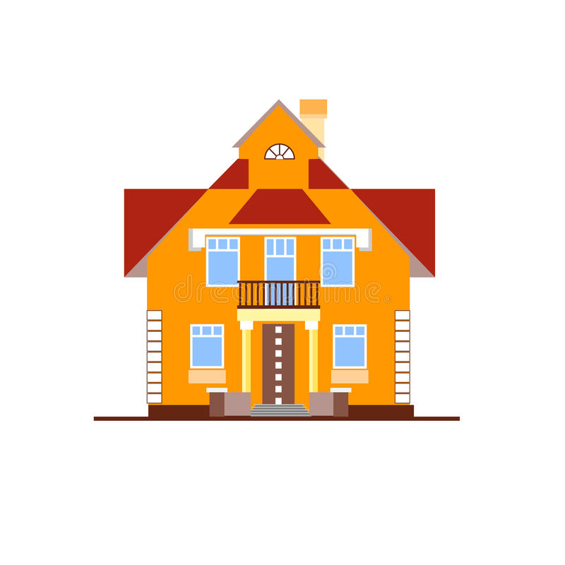 Det lilla orange huset på vit bakgrund vektor illustrationer