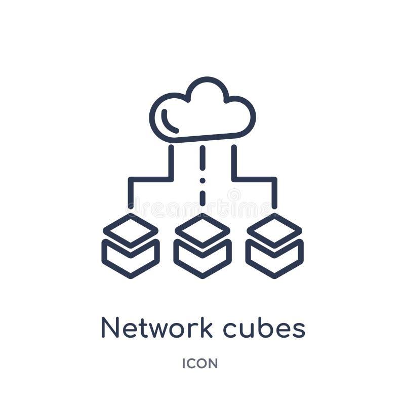 Det linjära nätverket skära i tärningar symbolen från säkerhet och att knyta kontakt för internet översiktssamlingen Tunn linje n royaltyfri illustrationer