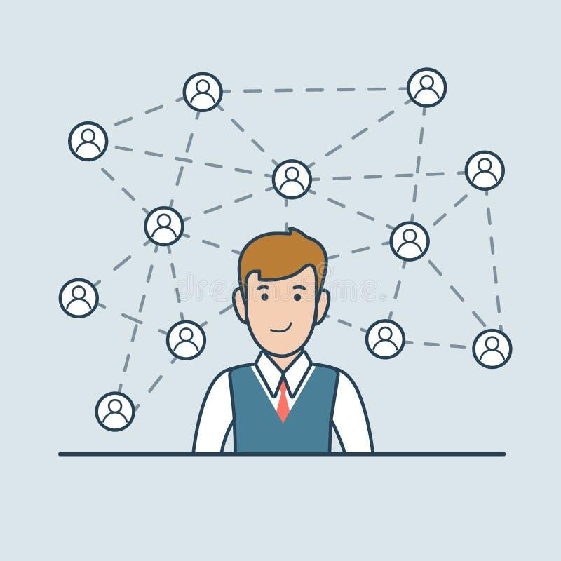 Det linjära plana nätverket för affärsmannen fodrar symbolsvecto stock illustrationer