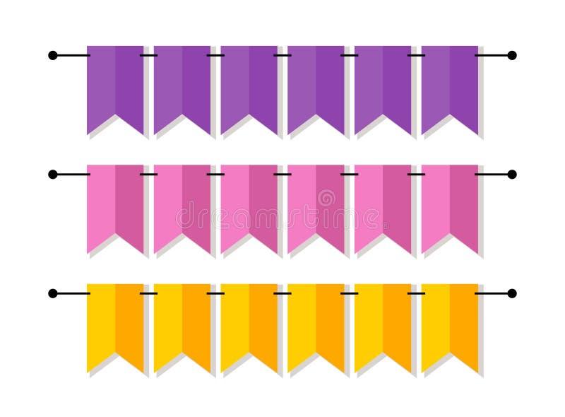Det ljusa banret som bunting sjunker i plan stil vektor illustrationer