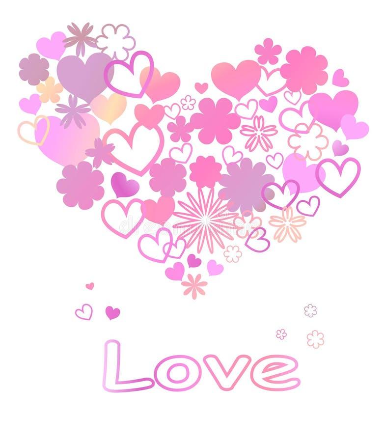 Det ljusa hälsningkortet med hjärta som göras av regnbågen, blommar på en svart bakgrund royaltyfri illustrationer