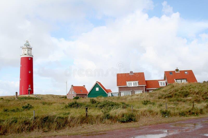 Det ljusa huset av Texel caleds Eierlanden arkivfoto