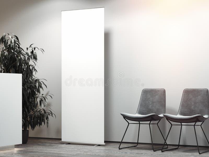 Det ljusa kontorsmottagandet med mellanrumet för väntande område och vitrullar upp framförande 3d vektor illustrationer