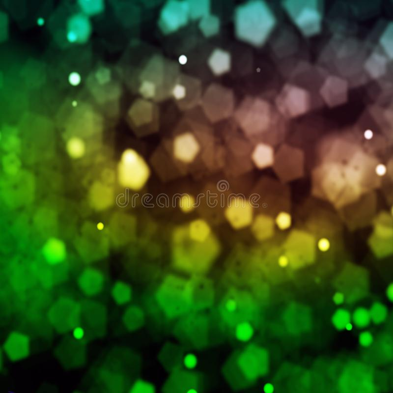 Det ljusa ljuset på nattbokehsbakgrund stock illustrationer