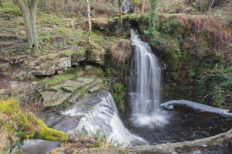 Det Lumb hålet faller, den Hebden bron som är västra - yorkshire, England arkivfoton