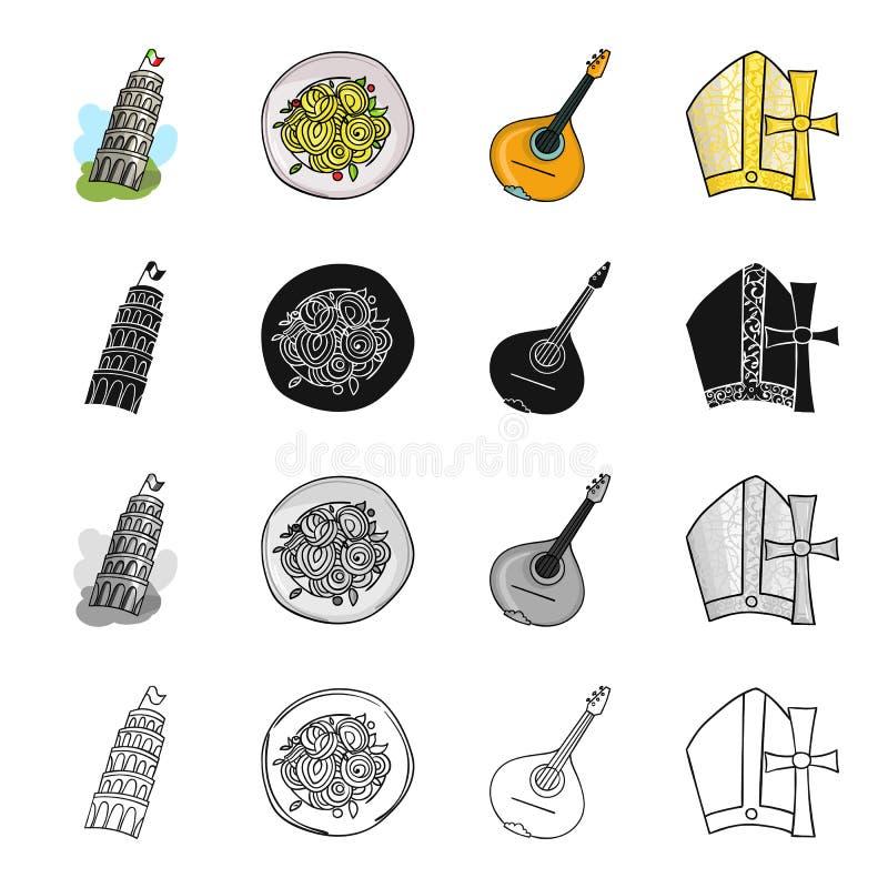 Det lutande tornet av Pisa, italiensk pasta, mandolin, ett attribut av katolicism Symboler för Italien uppsättningsamling i teckn stock illustrationer