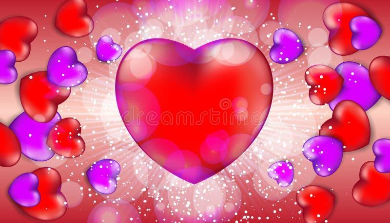 Det lyckliga banret för försäljningen för dagen för valentin` s med röda och rosa hjärtor och ljus blossar stock illustrationer