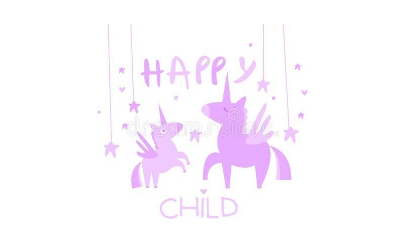 Det lyckliga barnet, den gulliga ungeaffischen med en enhörning, mall kan användas för inbjudan, kortet, affischen, banervektor royaltyfri illustrationer
