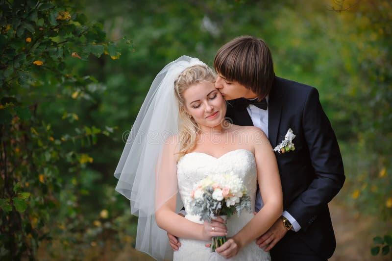 Det lyckliga barnet kopplar ihop precis gift - bröllopdagen royaltyfria bilder