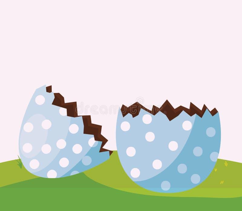 Det lyckliga easter ägget målade avbrottet i lägret stock illustrationer