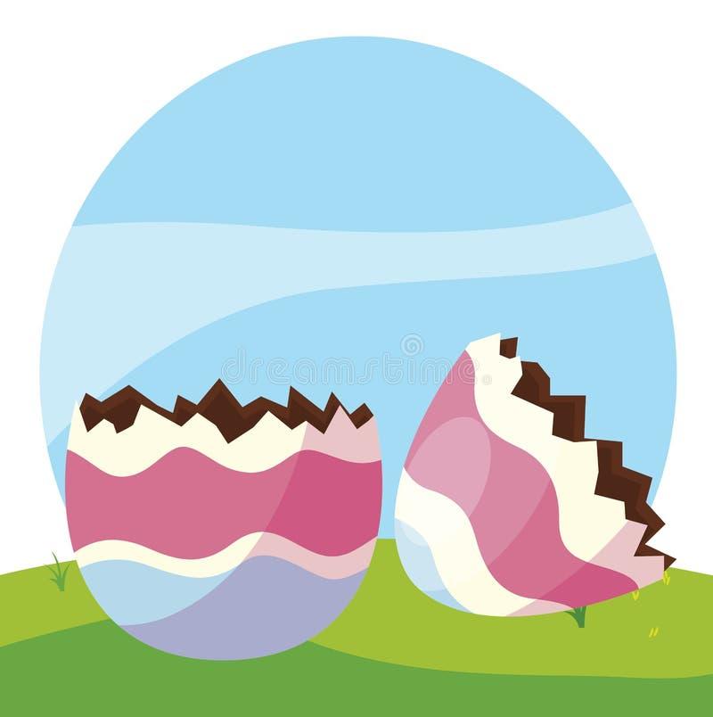 Det lyckliga easter ägget målade avbrottet i lägret vektor illustrationer
