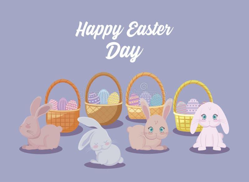 Det lyckliga easter dagkortet med gulliga kaniner och korgar gnäggar stock illustrationer