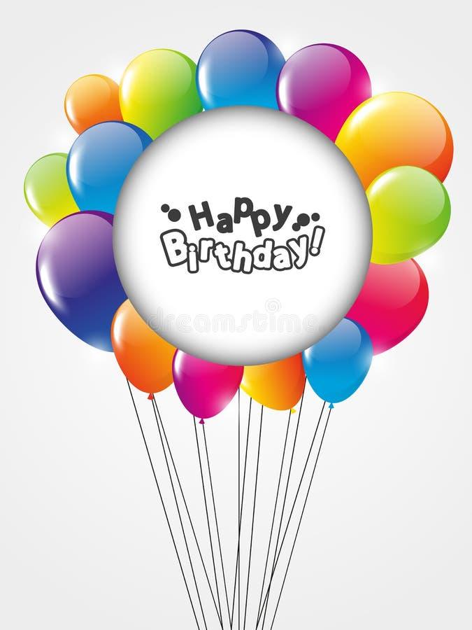 Lyckligt födelsedagkort med ballonger stock illustrationer