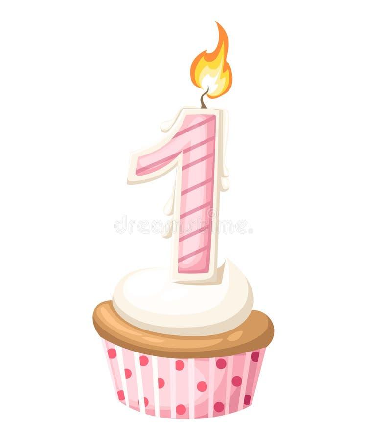 Det lyckliga 1 första födelsedagflickakortet med muffin och stearinljuset i plan design utformar, illustrationen stock illustrationer