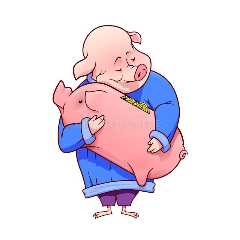 Det lyckliga feta svinet kramar en piggybank med guld- mynt inom också vektor för coreldrawillustration royaltyfri illustrationer