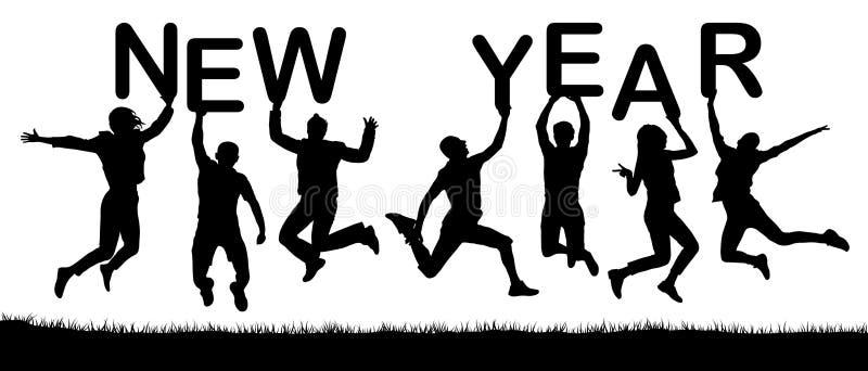 Det lyckliga folket semestrar banhoppning, rymmer bokstäverna i deras händer, det nya året för ordet vektor illustrationer
