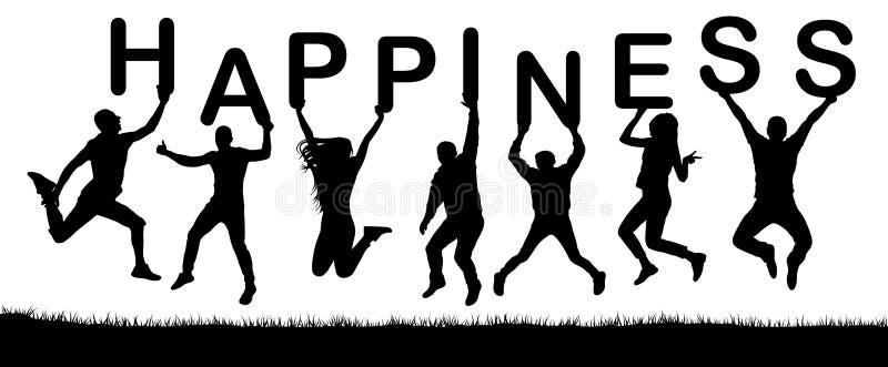 Det lyckliga folket som hoppar, rymmer bokstäverna i deras händer, ordlyckan vektor illustrationer
