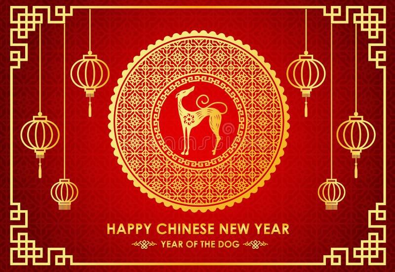 Det lyckliga kinesiska kortet för det nya året är kinesisk lykta- och hundzodiak i design för cirkelramvektor stock illustrationer