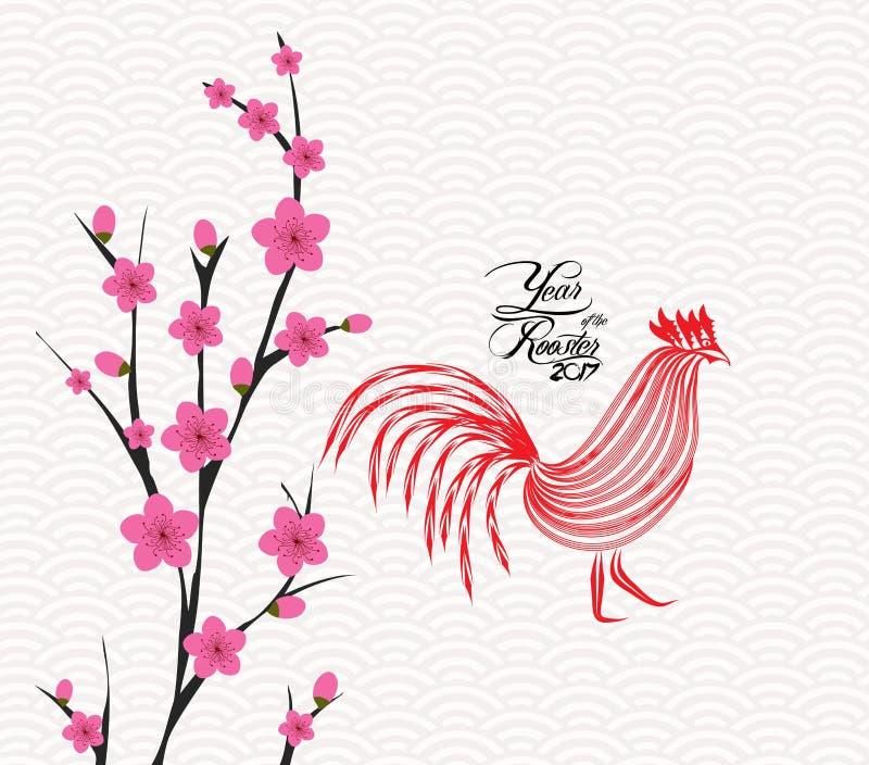 Det lyckliga kinesiska kortet för nytt år 2017 är blomningen År av tuppen stock illustrationer