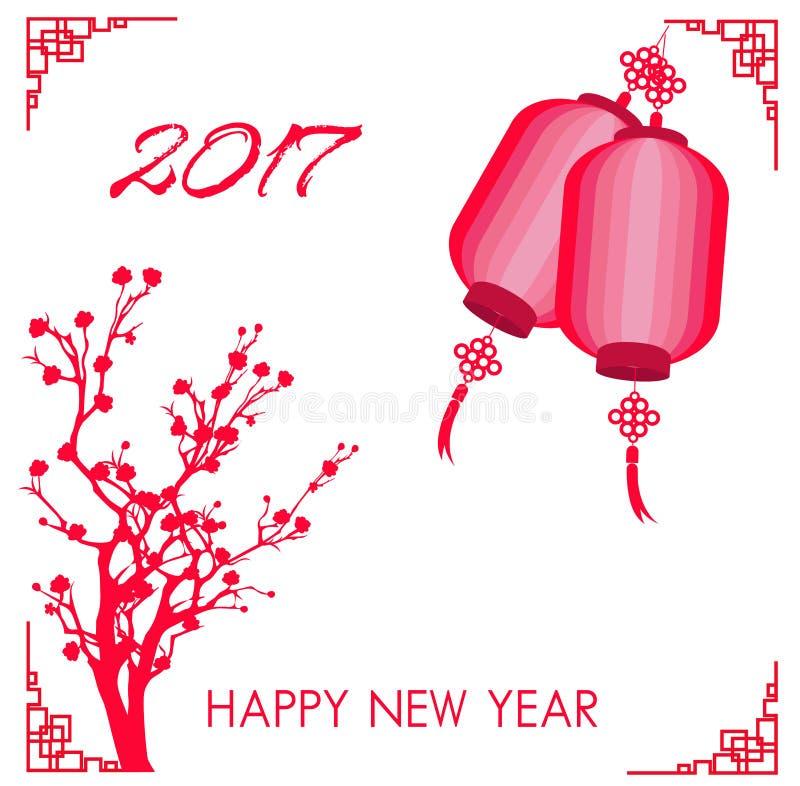 Det lyckliga kinesiska kortet för nytt år 2017 är lyktor, plommonblomning royaltyfri illustrationer