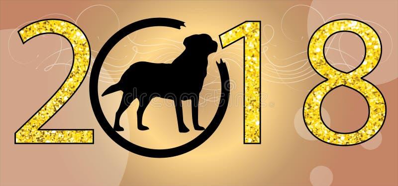 Det lyckliga kinesiska nya året 2018, vektorbakgrund, julprydnader, jordhunden eps föreställer 2018 år av jpgen för hundxmas-clip royaltyfri illustrationer