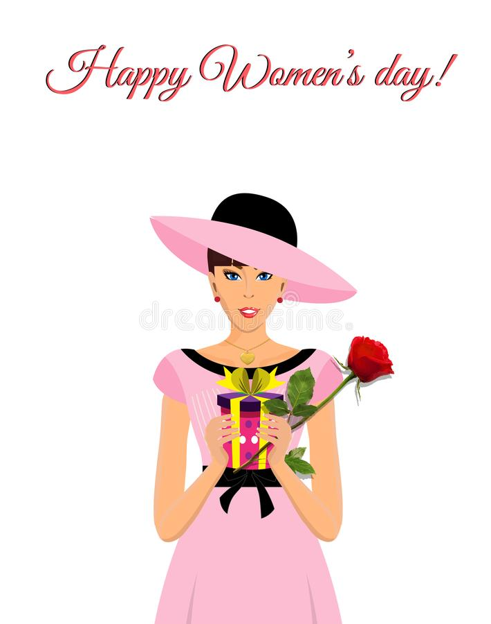 Det lyckliga kortet för hälsningen för dagen för kvinna` s med den förtjusande flickan i rosa färger klär stock illustrationer