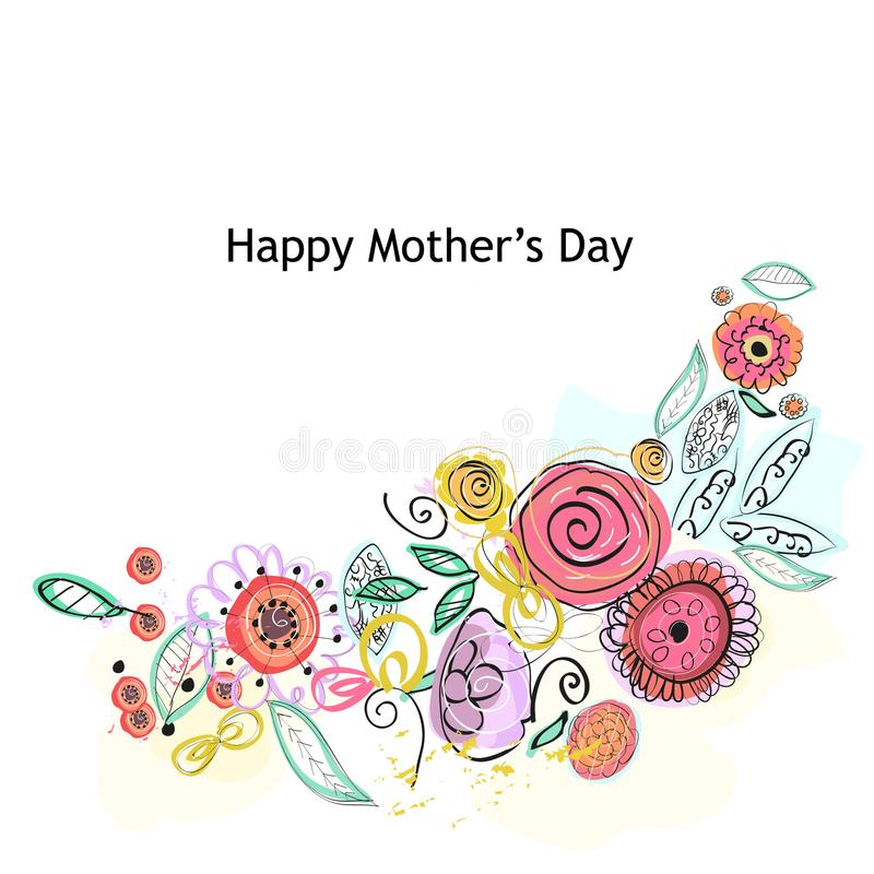 Det lyckliga kortet för hälsningen för dagen för moder` s med bakgrund och våren för färgrik vattenfärg blom- blommar stock illustrationer