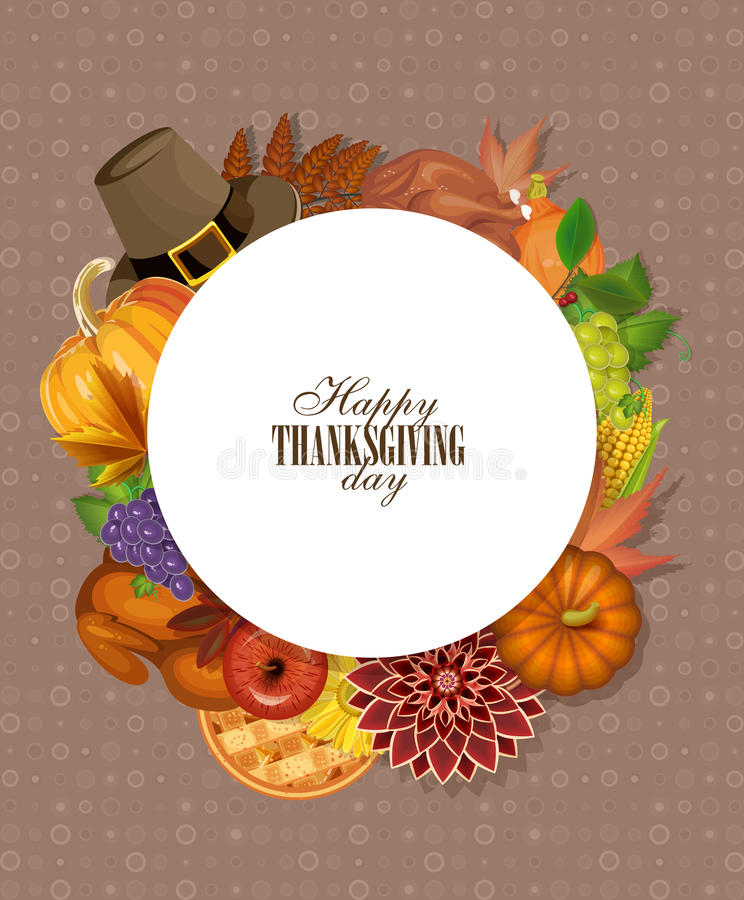 Det lyckliga kortet för tacksägelsedaghälsningen med pumpa, höstsidor, vallfärdar hatten och gör mellanslag för din text vektor illustrationer