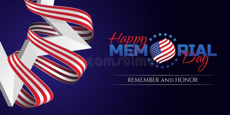 Det lyckliga Memorial Day hälsningkortet med nationsflaggan färgar band- och vitstjärnan på mörk bakgrund Minns och hedra vektor illustrationer