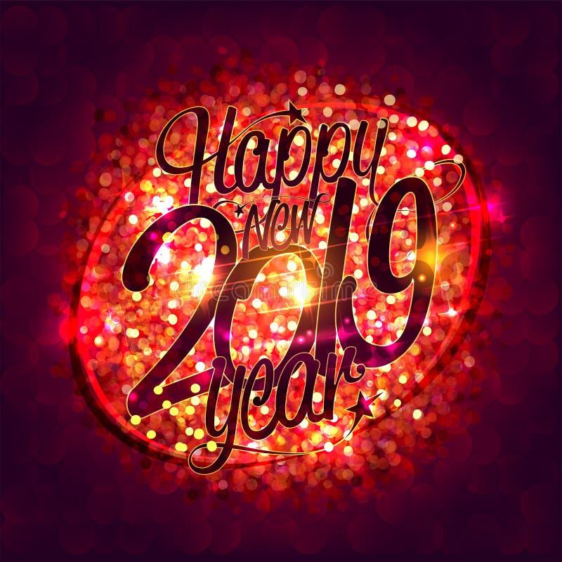 Det lyckliga nya 2019 år kortet med mousserar bakgrund royaltyfri illustrationer