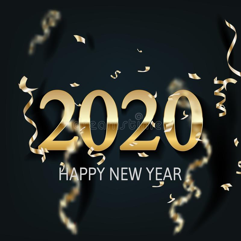 Det lyckliga nya året 2020 - blänker skinande bakgrundsguld för det nya året och stock illustrationer