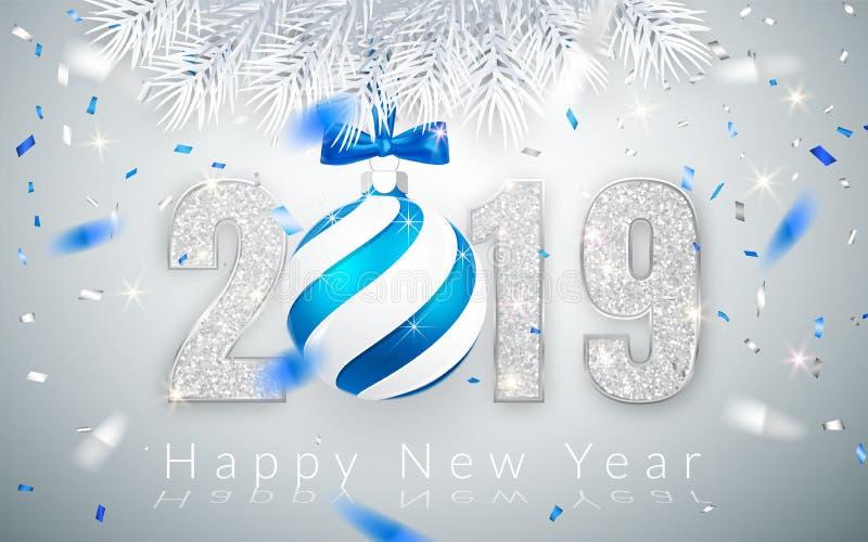 Det lyckliga nya året 2019, försilvrar nummerdesign av det hälsa kortet, fallande skinande konfetti, Xmas-boll med den blåa pilbå royaltyfri illustrationer