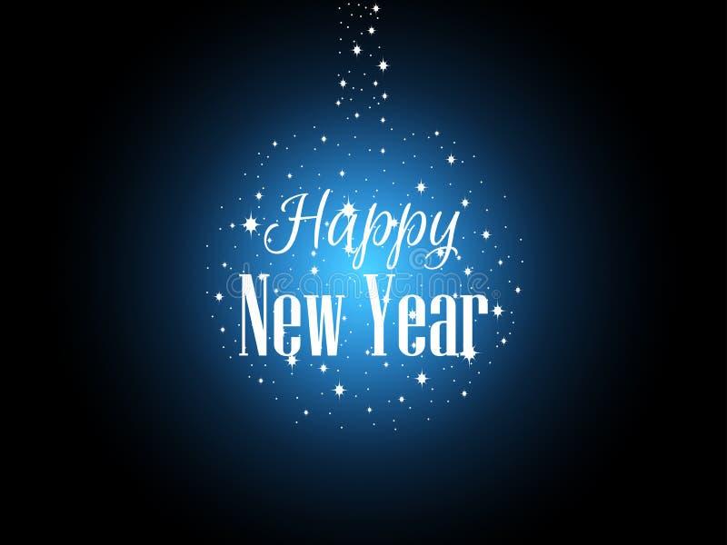Det lyckliga nya året, ljusa stjärnor och snöflingor bildar en boll Ett blått glöd Festlig lyckönsknings- bakgrund vektor royaltyfri illustrationer