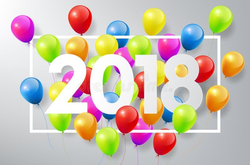Det lyckliga nya året 2018 med färgrika ballonger och fyrkantramen, firar begreppet, vektorillustration vektor illustrationer
