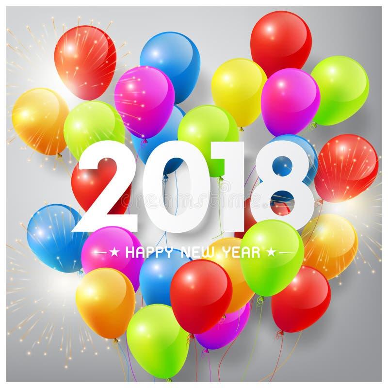Det lyckliga nya året 2018 med färgrika ballonger och fyrverkerit firar begrepp stock illustrationer