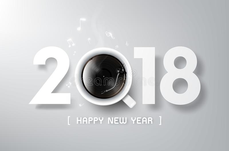 Det lyckliga nya året 2018 med kaffe- och vinyllek, kopplar av tid stock illustrationer